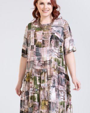 Повседневное с рукавами платье миди с оборками круглое прима линия