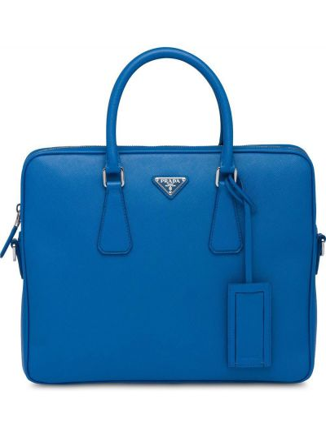 Niebieska teczka skórzana Prada