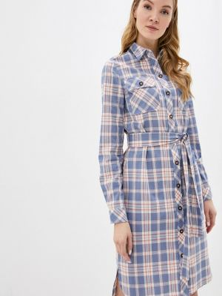 Платье платье-рубашка синее Pieces