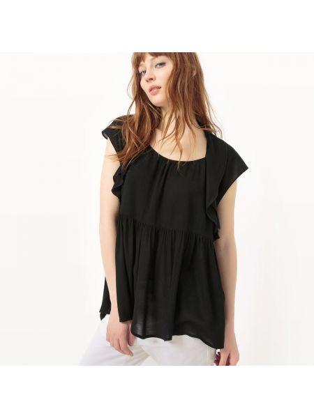 Черная блузка с оборками с V-образным вырезом из вискозы See U Soon
