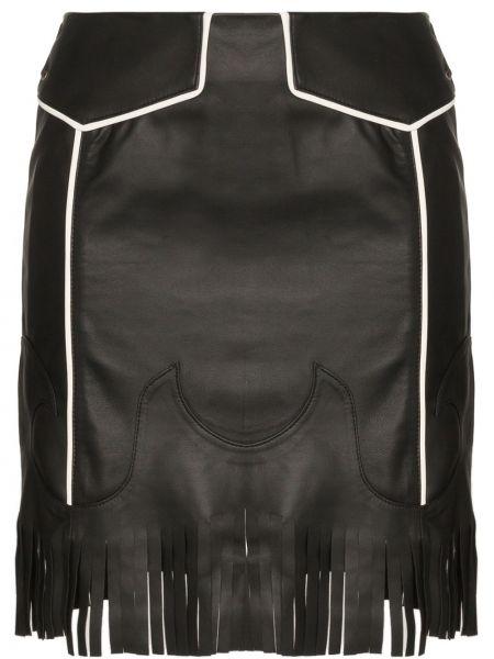 Кожаная юбка черная с бахромой Skiim