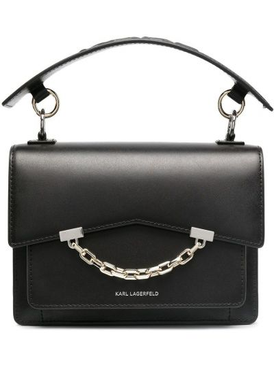 Czarny łańcuch ze srebra srebrny z printem Karl Lagerfeld