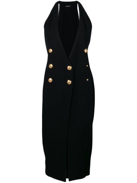 Черное платье миди с декольте на пуговицах двубортное Balmain