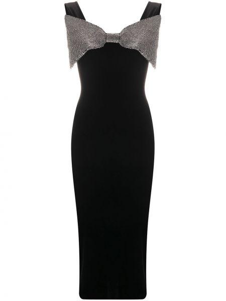 Aksamit czarny sukienka midi bez rękawów Christopher Kane