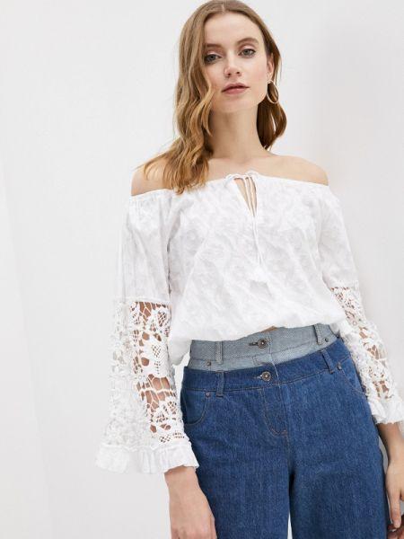 Ватная хлопковая белая блузка с открытыми плечами Fresh Cotton