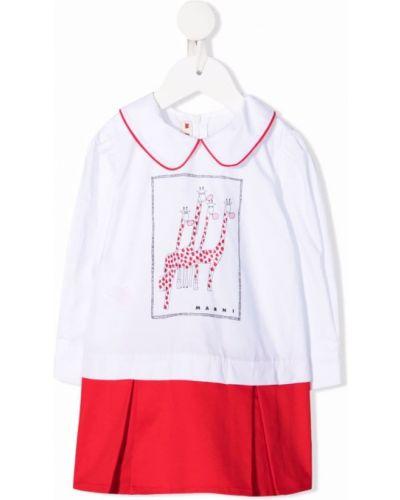 Biała sukienka długa z długimi rękawami Marni Kids