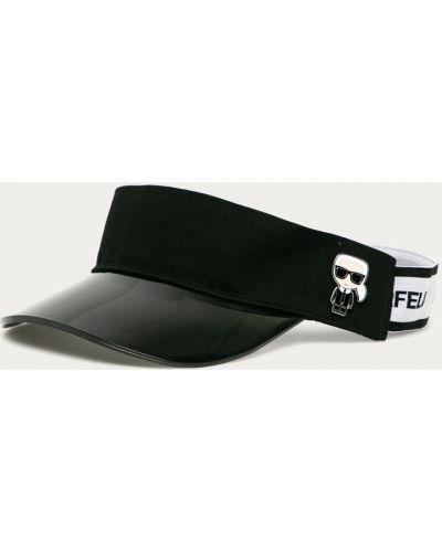 Czarna czapka bawełniana z printem Karl Lagerfeld