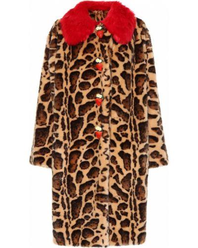 Зимнее пальто леопардовый с принтом Dolce & Gabbana