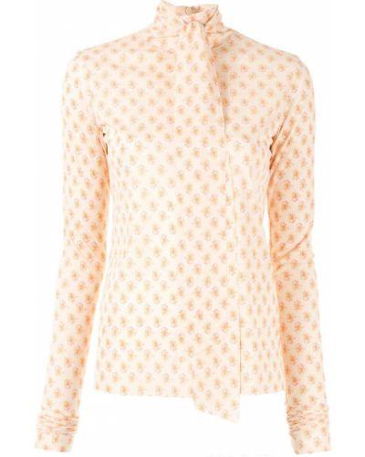 Блузка с длинным рукавом розовая с бантом Irene