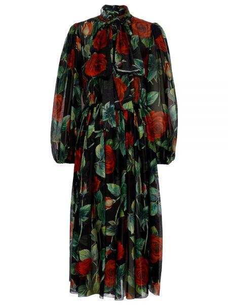 Шелковое платье макси - черное Dolce & Gabbana