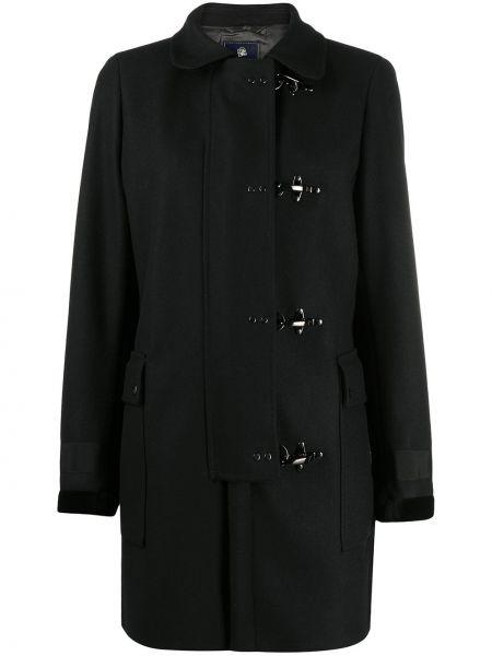 Черное шерстяное длинное пальто с воротником с карманами Fay