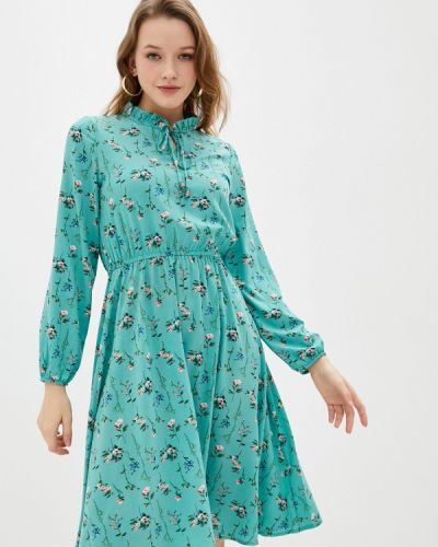 Бирюзовое прямое платье А-силуэта Froggi