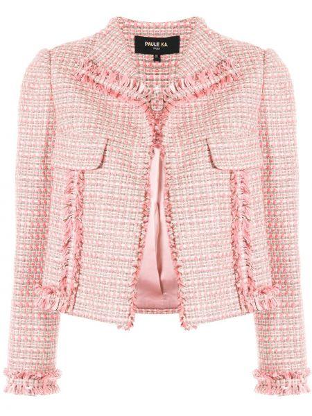 Розовый короткая куртка твидовый с карманами Paule Ka