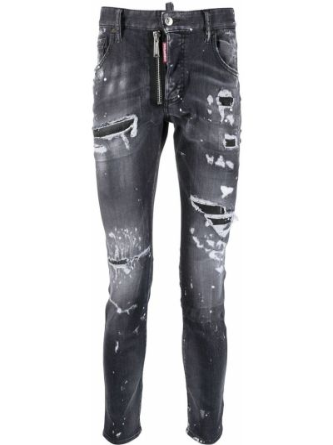 Облегающие черные зауженные джинсы классические Dsquared2