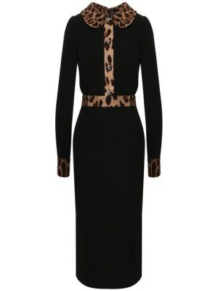 Платье с поясом на пуговицах леопардовое Dolce & Gabbana