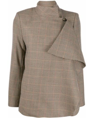Однобортный коричневый классический пиджак с воротником с подстежкой Teija
