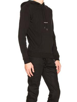 Czarna bluza kangurka bawełniana z printem Saint Laurent