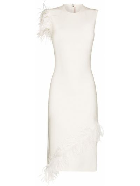 Wełniany beżowy sukienka midi Christopher Kane