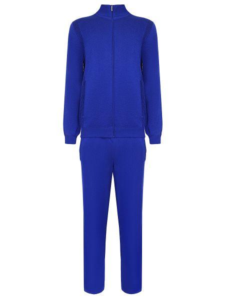 Синий шелковый спортивный костюм с карманами со вставками Zilli