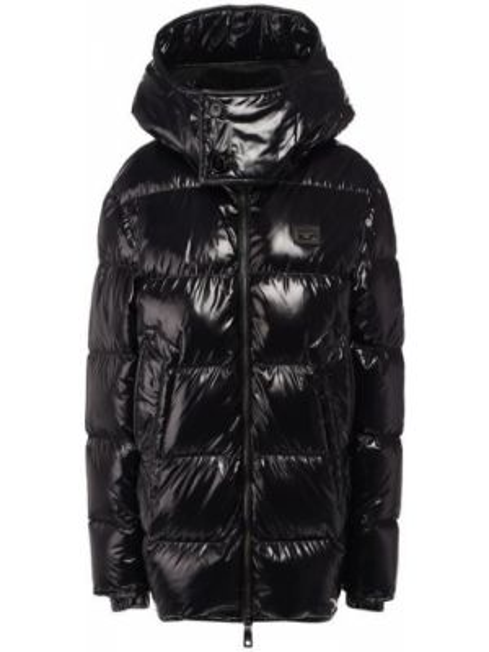 Кожаная куртка с капюшоном черная Dolce & Gabbana