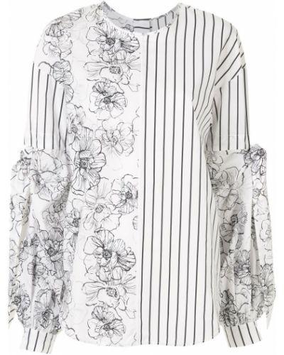 Хлопковая белая блузка с вырезом круглая Silvia Tcherassi
