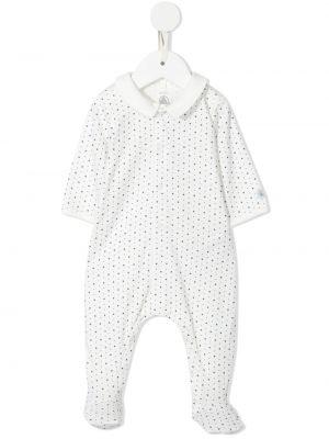 Biała piżama bawełniana z długimi rękawami Petit Bateau