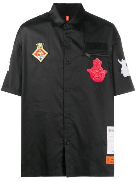 Bawełna prosto czarny koszula z kieszeniami Heron Preston
