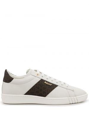 Белые кроссовки в полоску Bally