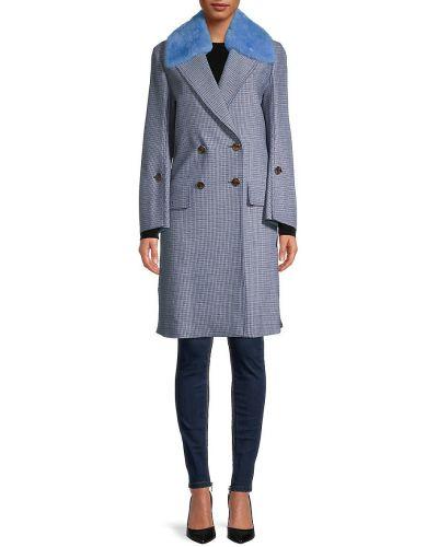 Шерстяное длинное пальто с воротником двубортное Fendi