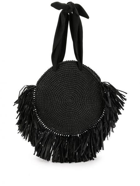 Пляжная черная соломенная пляжная сумка 0711