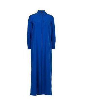 Синее платье с капюшоном для офиса из вискозы Via Torriani 88