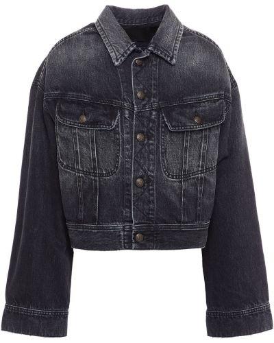 Хлопковая черная джинсовая куртка на пуговицах R13