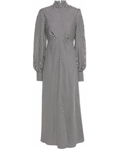 Черное сатиновое платье миди в полоску Zimmermann
