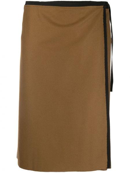 Шерстяная коричневая юбка с запахом с завязками Gianfranco Ferre Pre-owned
