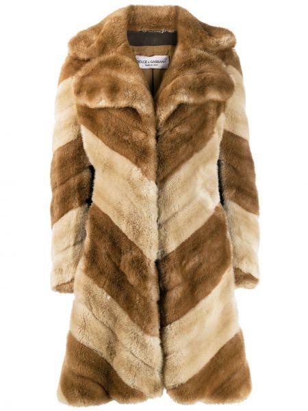 С рукавами пальто из искусственного меха с лацканами винтажное Dolce & Gabbana Pre-owned