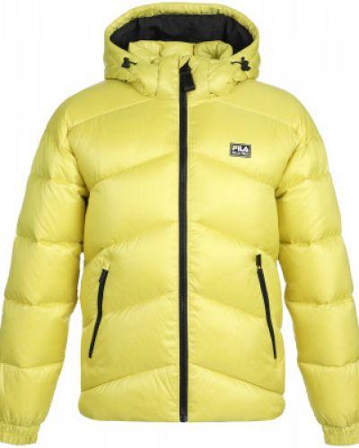 Утепленная желтая короткая куртка на молнии Fila