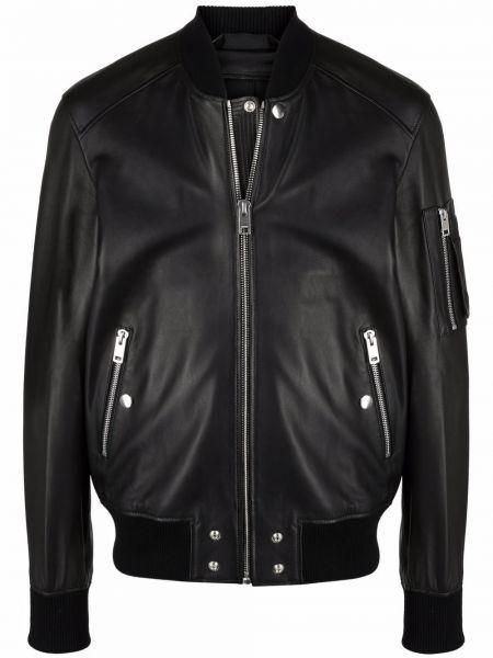 Кожаная куртка на молнии - черная Diesel