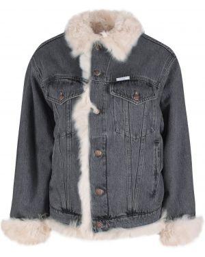 Черная джинсовая куртка с манжетами с воротником на пуговицах Forte Couture