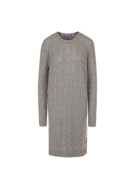 Шерстяное вязаное серое вечернее платье на каблуке Ralph Lauren