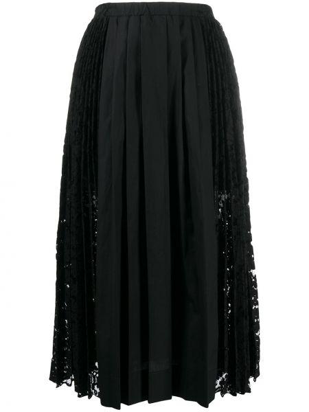 Черная ажурная юбка миди из вискозы на шнурках N°21