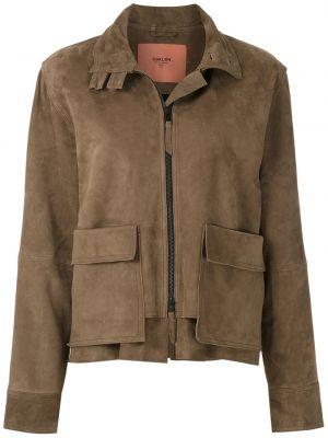Коричневая кожаная куртка на молнии Osklen