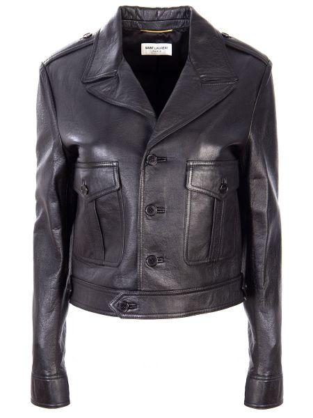 Кожаная куртка на пуговицах с карманами Saint Laurent