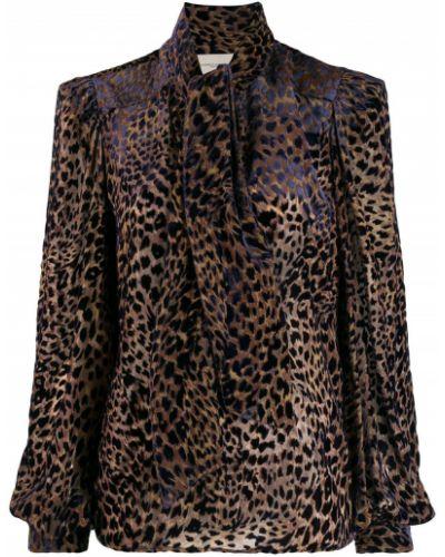 Блузка с длинным рукавом в полоску с леопардовым принтом Giuseppe Di Morabito