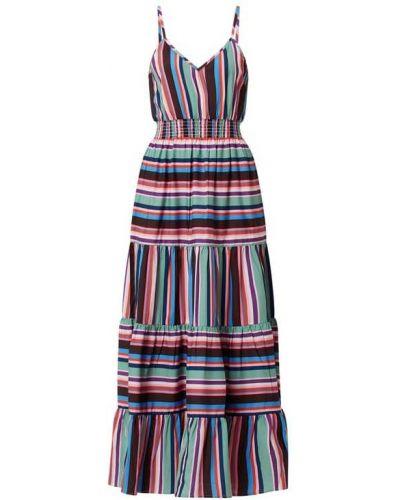 Fioletowa sukienka długa rozkloszowana w paski Shiwi