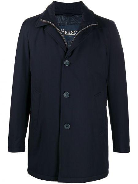 Niebieski jednorzędowy długi płaszcz z długimi rękawami z wiskozy Herno