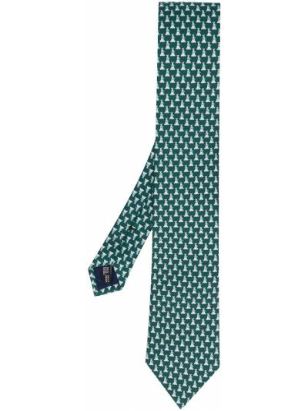 Zielony jedwab klasyczny krawat Salvatore Ferragamo
