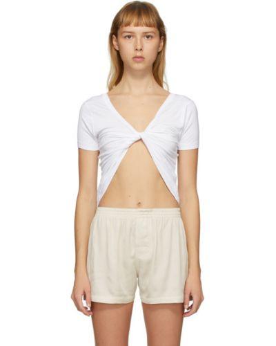 Рубашка с коротким рукавом белая без воротника Jacquemus