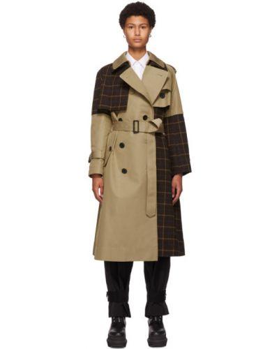 Шерстяное черное длинное пальто с воротником Sacai