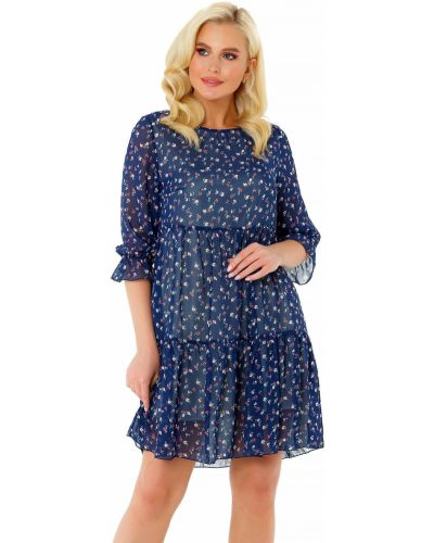 Шифоновое платье на резинке свободного кроя с вырезом Liza Fashion