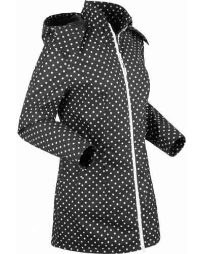 Куртка с капюшоном в горошек черная Bonprix